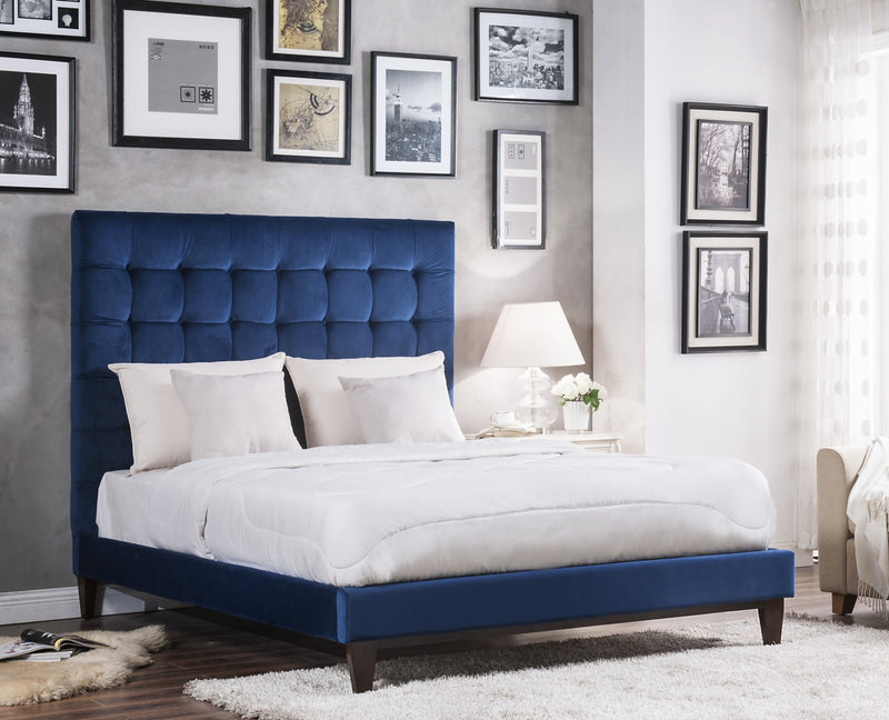 Iconic Home Beethoven Elgar Chopin Handel Verdi Bed Frame with Headboard Tufted Velvet Upholstered Tapered Birch Legs Navy Main Image