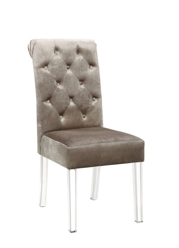 Iconic Home Sharon Dining Side Chair Button Tufted Velvet Upholstered Acrylic Legs Taupe (Set of 2)