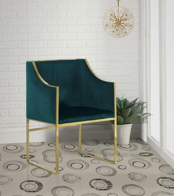 Iconic Home Rowan Declan Aidan Homer Franco Accent Club Chair Velvet Upholstered Brass Finished Stainless Steel Frame Green Main Image