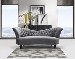 Iconic Home Mont Blanc Mont Maudit Monte Rosa Mont Dolent Matterhorn Kidney Sofa Velvet Upholstered Flared Shelter Arms Turned Wood Legs Grey Main Image
