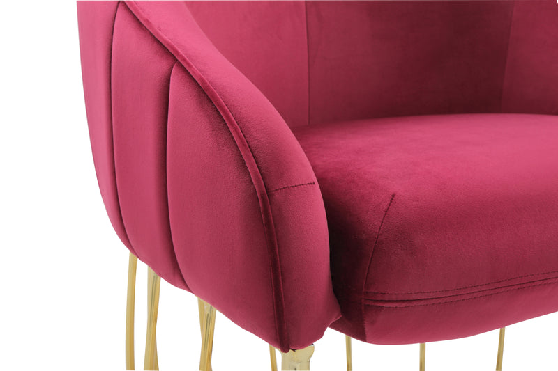 Iconic Home Teatro Shell Accent Chair Velvet Upholstered Half Moon Gold Tone Solid Metal Base Red