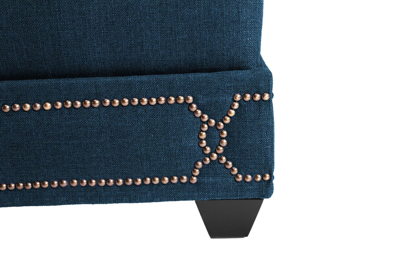 Iconic Home Gianni Ottoman Bench Linen Upholstered Nailhead Trim Ebony Legs Teal