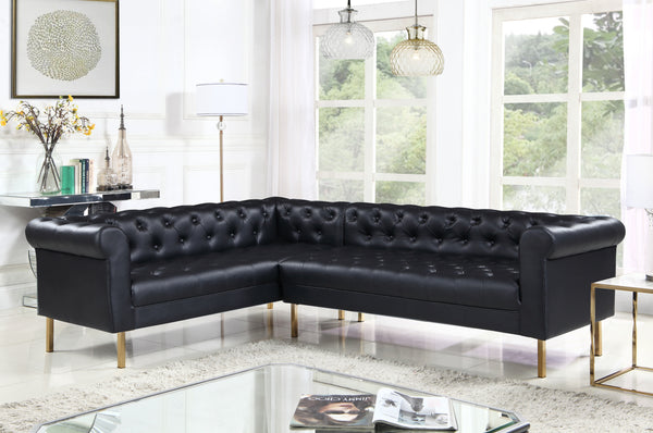 Iconic Home Giovanni Dominic Mateo Julian Noah Left Facing Sectional Sofa L Shape PU Leather Upholstered Gold Tone Legs Black Main Image