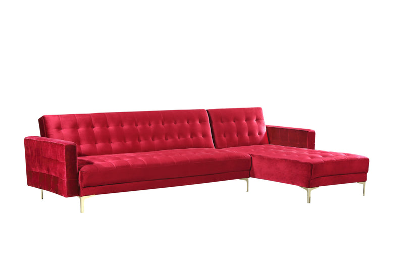 Iconic Home Amandal Right Facing Sectional Sofa Sleeper Bed Velvet Upholstered Goldtone Y-Leg Red