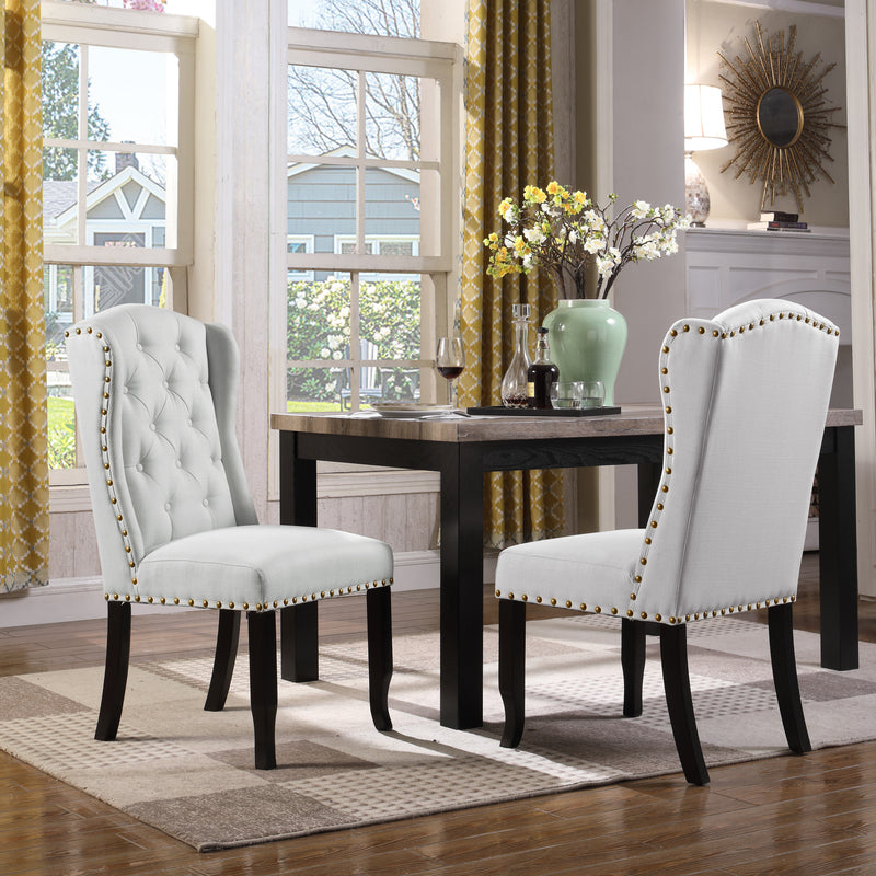 Iconic Home Shira Kammen Scheindlin Viola Nayman Wingback Dining Chair Faux Linen Upholstered Nailhead Trim Wood Legs Grey (Set of 2) Main Image