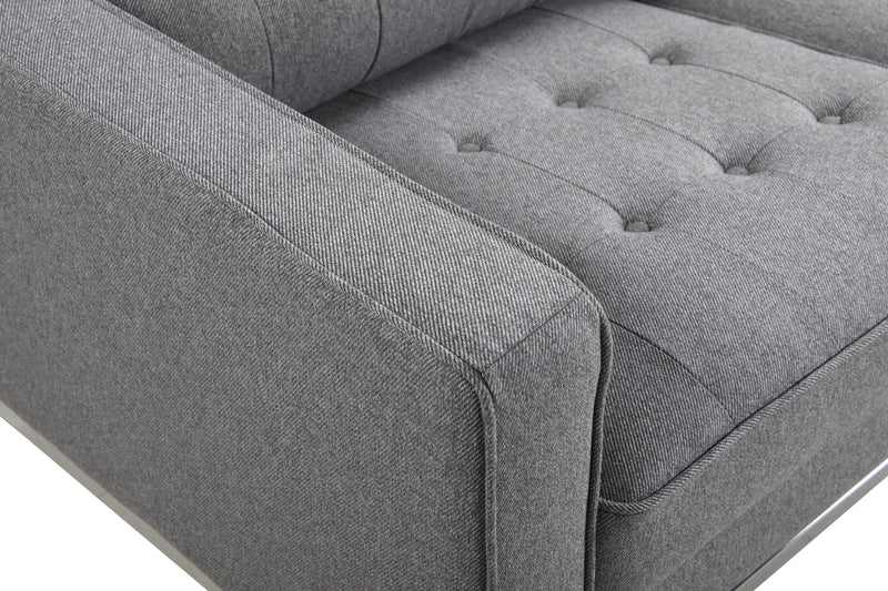 Iconic Home Draper Sofa Three Seat Linen Upholstered Button Tufted Silvertone Metal Legs Grey