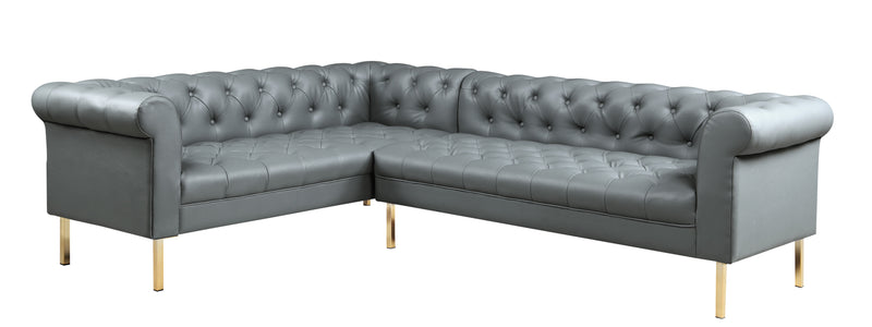 Iconic Home Giovanni Left Facing Sectional Sofa L Shape PU Leather Upholstered Gold Tone Legs Grey