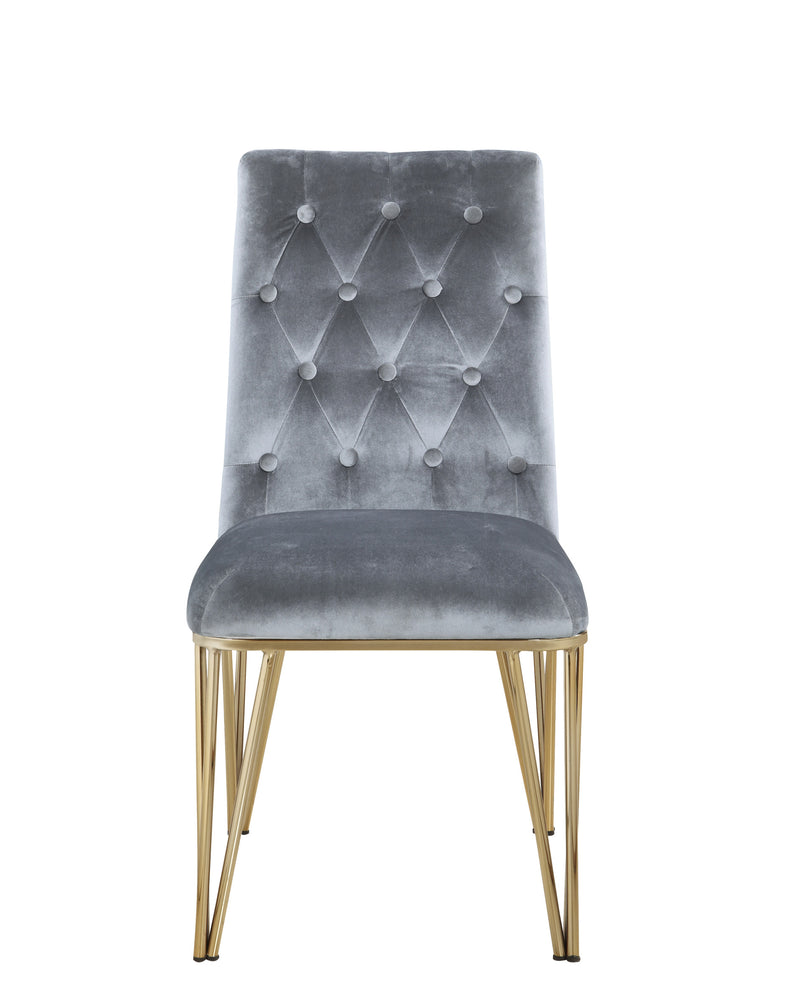 Iconic Home Callahan Dining Chair Velvet Upholstered Solid Gold Tone Spindle Legs Grey (Set of 2)