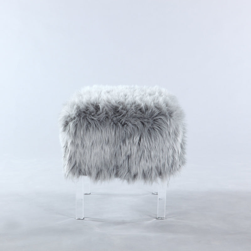 Iconic Home Fiorino Faux Fur Ottoman Acrylic Legs Bench Grey