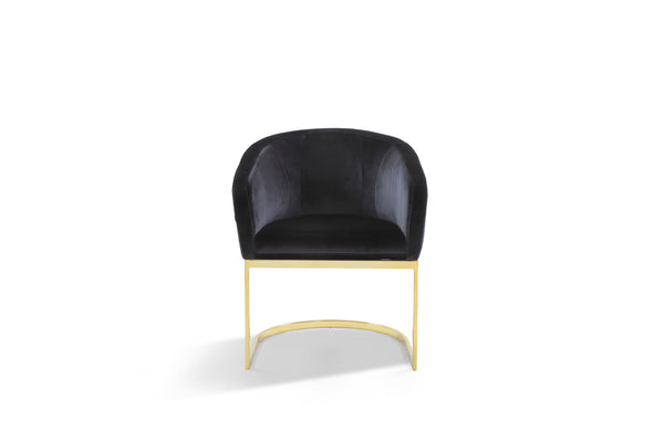 Iconic Home Siena Shell Accent Chair Velvet Upholstered U-Shaped Gold Plated Solid Metal Base Black