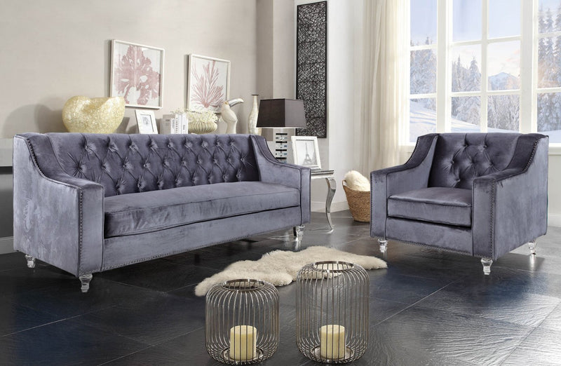 Iconic Home Dylan Velvet Button Tufted Nailhead Trim Acrylic Legs Sofa Grey