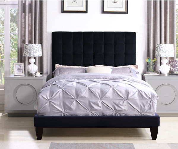 Iconic Home Beethoven Elgar Chopin Handel Verdi Bed Frame with Headboard Tufted Velvet Upholstered Tapered Birch Legs Black Main Image