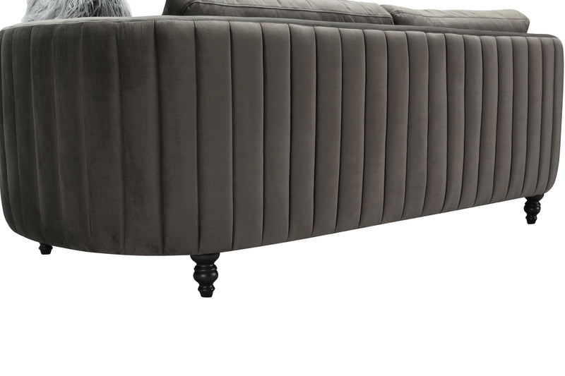 Iconic Home Riviera Sofa Velvet Upholstered Channel Quilted Espresso Finished Wood Legs Grey
