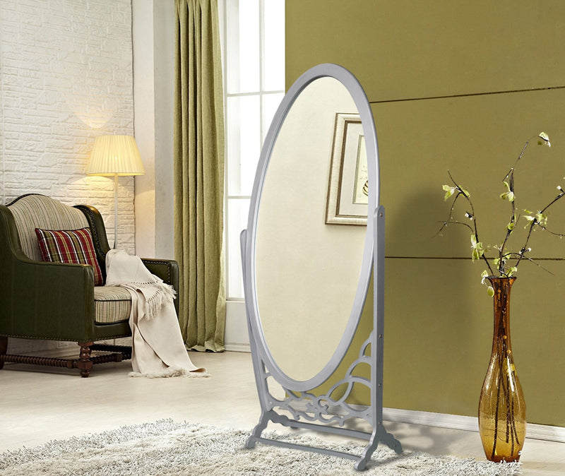 Iconic Home Bowery John Chambers York Canal Cheval Floor Mirror Free Standing Spindle Accent Legs Silver Main Image