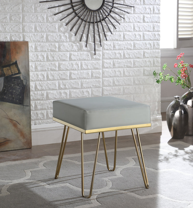 Iconic Home Catania Catheau Catharin Catha Caitlin Square Ottoman PU Leather Upholstered Brass Finished Frame Hairpin Legs Grey Main Image