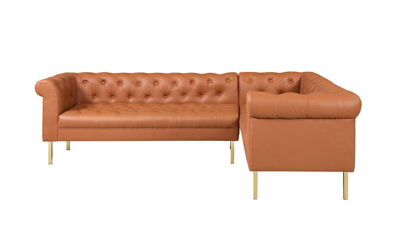 Iconic Home Giovanni Right Facing Sectional Sofa L Shape PU Leather Upholstered Gold Tone Legs Camel