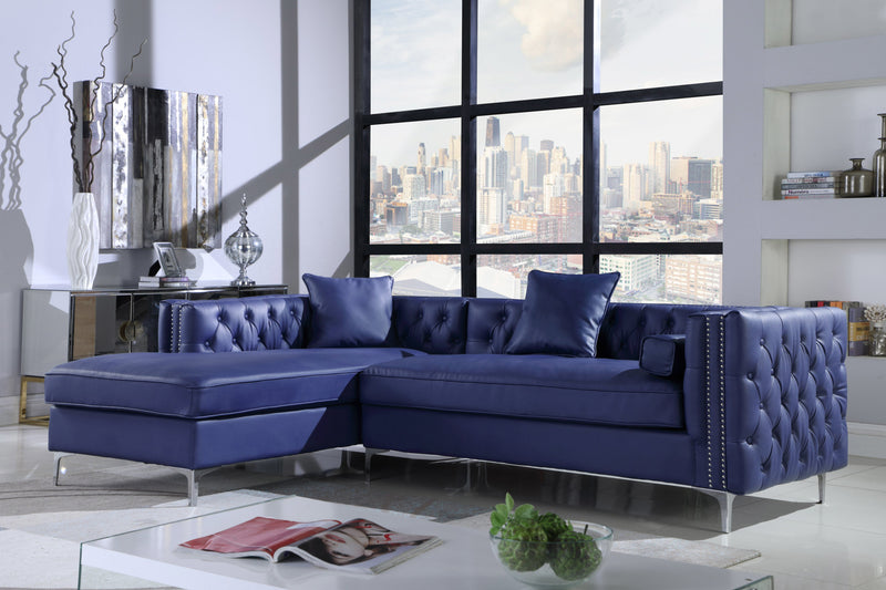 Iconic Home Da Vinci Michelangelo Picasso Monet Bosch Button Tufted PU Leather Left Facing Chaise Sectional Sofa Navy Main Image