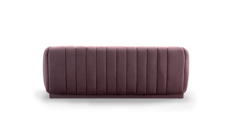 Iconic Home Van Gogh Sofa Velvet Upholstered Vertical Channel-Quilted Shelter Arm Design Blush