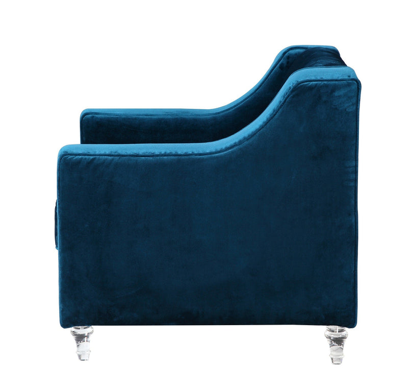 Iconic Home Dylan Velvet Button Tufted Nailhead Trim Acrylic Legs Accent Club Chair Navy