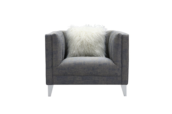 Iconic Home Montmarte Accent Chair Textured Fabric Channel-Quilted Silvertone Metal Legs Blue