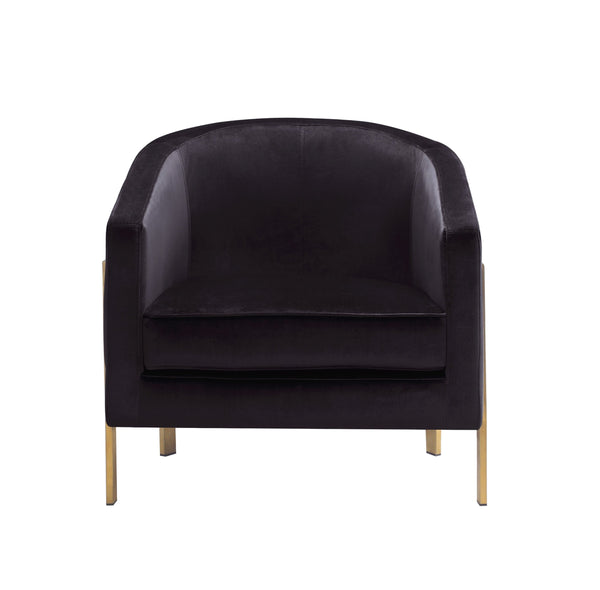 Iconic Home Monte Accent Club Chair Velvet Cushion Seat Brushed Brass Stainless Steel Frame Black