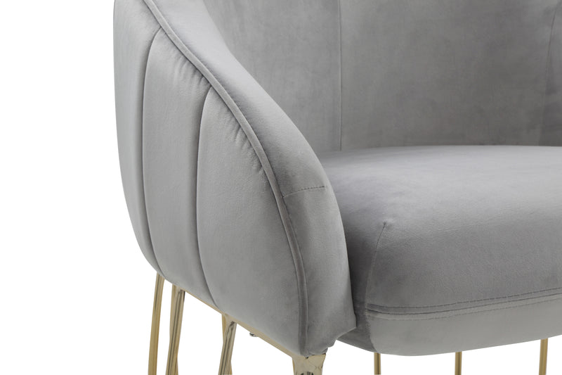 Iconic Home Teatro Shell Accent Chair Velvet Upholstered Half Moon Gold Tone Solid Metal Base Grey