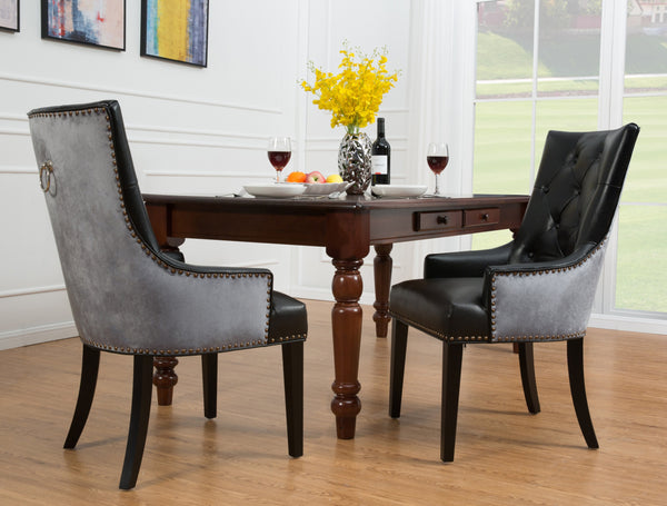 Iconic Home Cadence Linus Gideon Gilbert Renaud Button Tufted PU Leather Velvet Nailhead Trim Espresso Wood Legs Dining Side Chair (Set of 2) Black Main Image