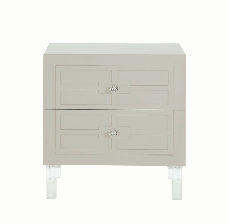 Iconic Home Naples Side Table Nightstand 2 Self Closing Drawers Lacquer Finish Acrylic Legs Beige