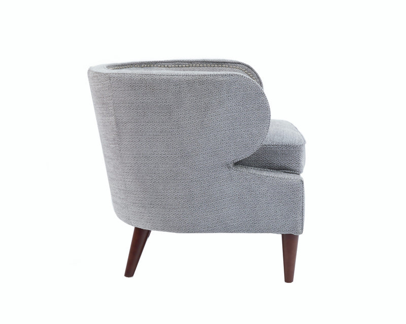 Iconic Home Vered Accent Club Chair Chenille Upholstered Nailhead Trim Wood Legs Grey