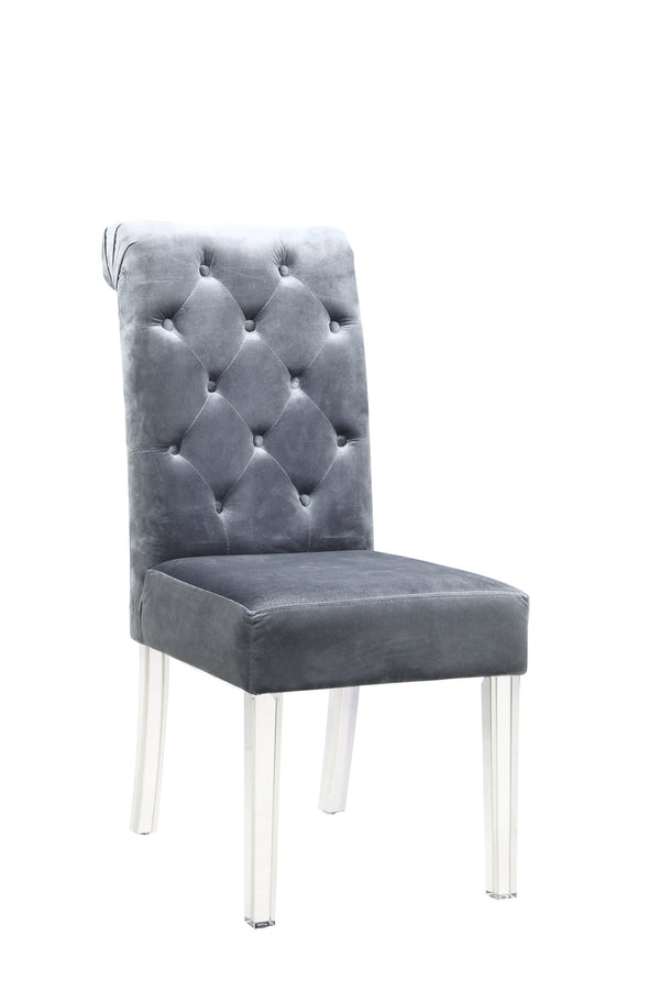 Iconic Home Sharon Dining Side Chair Button Tufted Velvet Upholstered Acrylic Legs Grey (Set of 2)