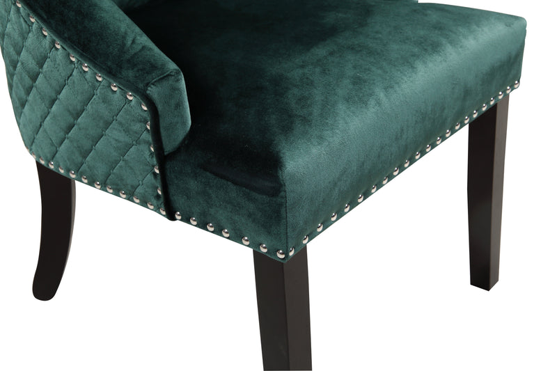 Iconic Home Machla Dining Chair Button Tufted Velvet Upholstered Nailhead Trim Wood Legs Green