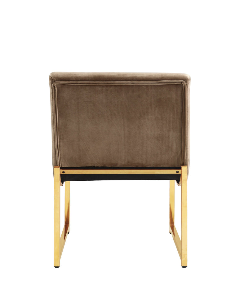 Iconic Home Moriah Accent Chair Button Tufted Velvet Upholstered Brass Finished Metal Frame Taupe