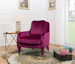 Iconic Home Tzivia Ayala Gila Milka Nurit Accent Club Chair Sleek Velvet Upholstered Plush Cushion Brass Tip Legs Plum Main Image