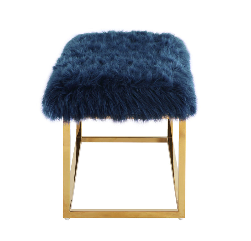 Iconic Home Marilyn Faux Fur High Polish Metal Frame Ottoman Bench Navy