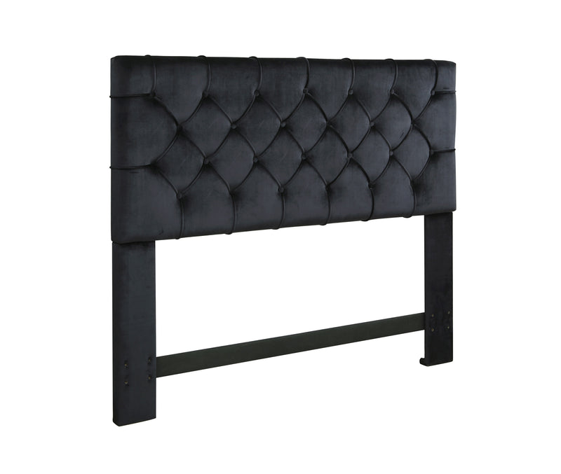 Iconic Home Rivka Headboard Velvet Upholstered Diamond Button Tufted Black