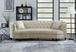 Iconic Home Leeba Aleah Sassa Tamika Vonna Velvet Button Tufted Club Sofa Champagne Main Image