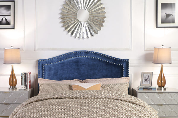 Iconic Home Tal Clio Godiva Idun Minerva Headboard Velvet Upholstered Double Row Nailhead Trim Navy Main Image