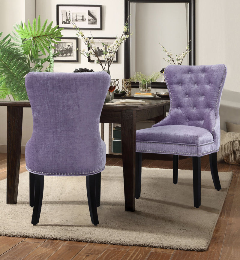 Iconic Home Diana Victoria Charlotte Elizabeth Catherine Dining Chair Button Tufted Velvet Upholstery Espresso Wood Legs Purple (Set of 2) Main Image
