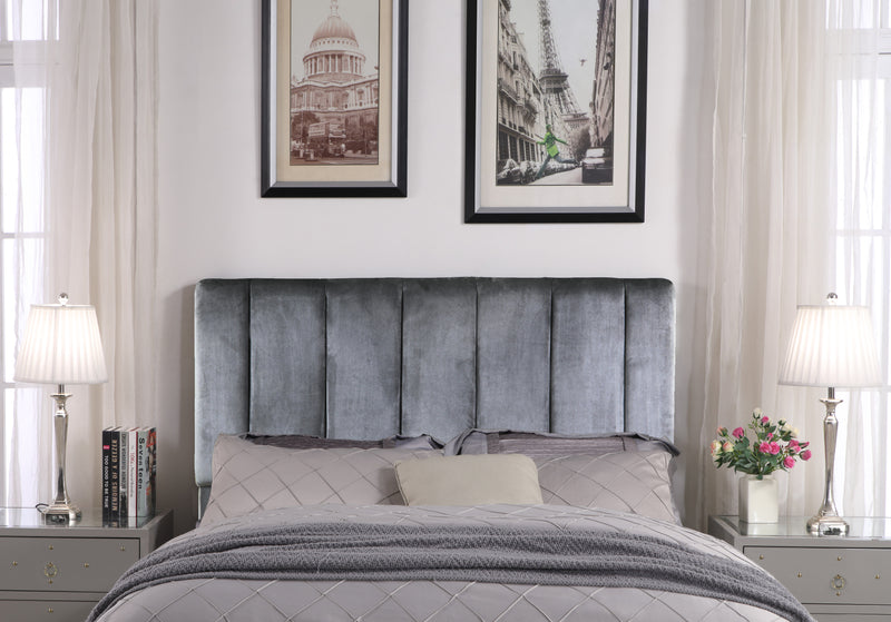 Iconic Home Uriella Leor Siraj Anwar Lucian Headboard Velvet Upholstered Vertical Striped Grey Main Image