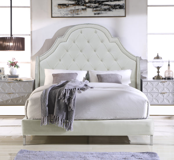 Iconic Home Napoleon Alexander Arthur Constantine Nero Bed Frame with Wingback Headboard Button Tufted Velvet Upholstered Cream Main Image