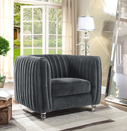 Iconic Home Kent Channel Quilted Velvet Accent Club Chair Grey Lux