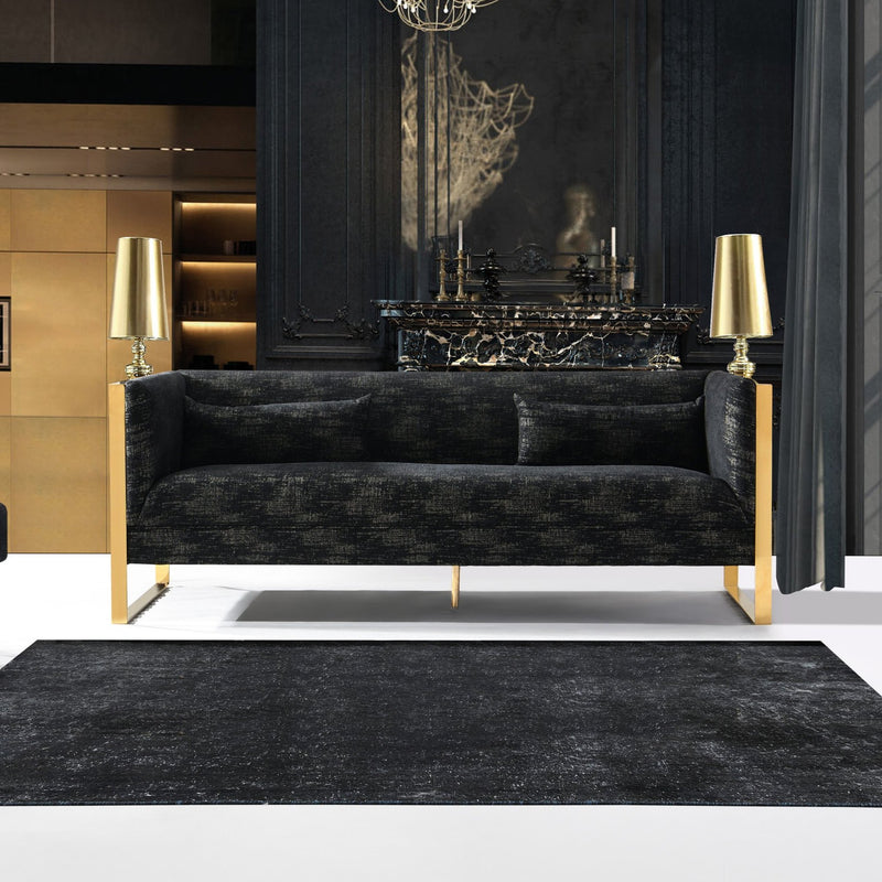 Iconic Home Louvre Armée Cluny Orsay Pompidou Sofa Two Tone Textured Fabric Sculptural Gold Tone Solid Metal Frame Black Main Image