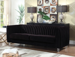 Iconic Home Kent Mark Elli Priscilla Maxx Channel Quilted Velvet Sofa Black Main Image