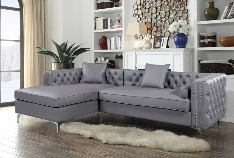 Iconic Home Da Vinci Michelangelo Picasso Monet Bosch Button Tufted PU Leather Left Facing Chaise Sectional Sofa Grey Main Image
