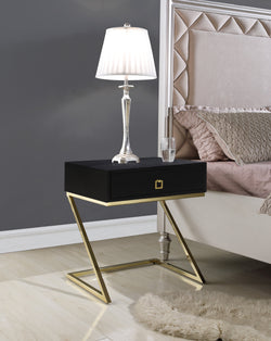 "Iconic Home Cordoba Juan Alonso Francisco Gonzalo Nightstand Side Table Self Closing Drawer Brass Finished Metal ""Z"" Frame Black Main Image"