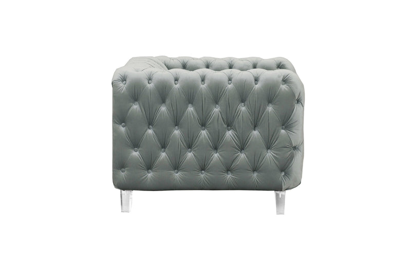 Iconic Home Syracus Tufted Velvet Plush Accent Club Chair Grey