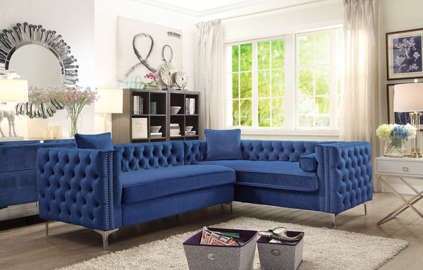 Iconic Home Mozart Weston Astrid Susan Howard Right Facing Sectional Sofa Velvet Button Tufted Nailhead Trim Metal Y-Leg Navy Main Image