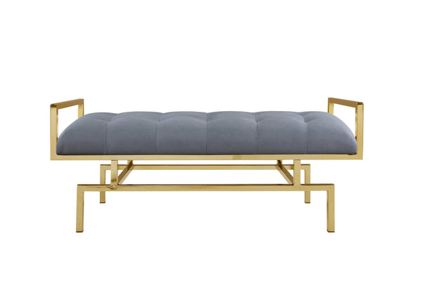 Iconic Home Bruno Bench Gold Tone Architectural Frame PU Leather Upholstered Tufted Ottoman Grey