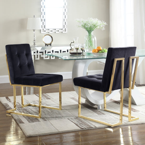 Iconic Home Liam Mason Isaac Pierre Levi Velvet Button Tufted Polish Metal Frame Dining Side Chair (Set of 2) Black Main Image