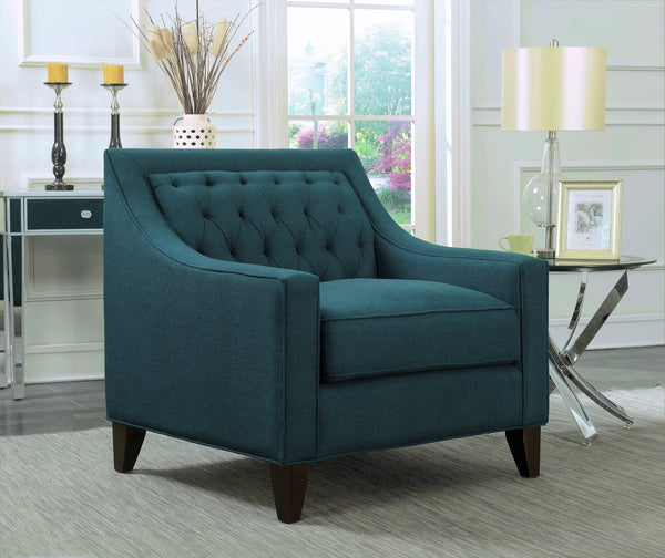 Iconic Home Aberdeen Aurora Vesta Fulla Orion Linen Tufted Accent Club Chair Teal Main Image